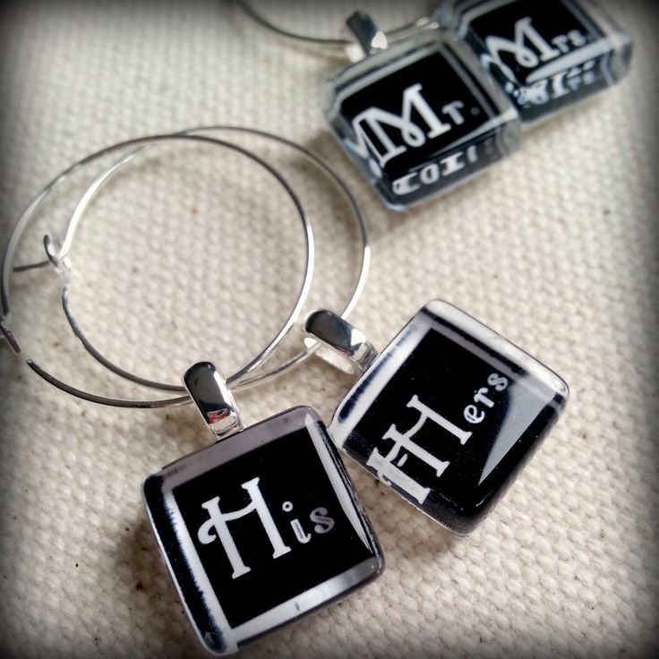 Mr Mrs and His Hers Glass Wine Charms l Perfect for the Bride and Groom Toasting Flutes on their Special Day l Bride and Groom Wedding Gift by denilleeo on Etsy https://www.etsy.com/listing/103836310/mr-mrs-and-his-hers-glass-wine-charms-l
