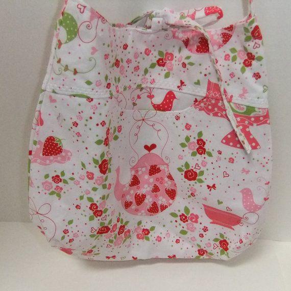 SALE TODAY Cross body purse bag - Strawberries and tea - medium - crossover purse- strawberry purse