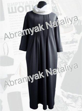 49$ Трикотажное платье большого размера свободного кроя с рукавами три четверти и с декоративными складками серого цвета Артикул 958,р50-64