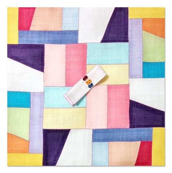 Handmade Korean Traditional Ramie Fabric Patchwork Pojagi Versatile Tea Mat Curtain Wall Decor
