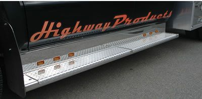 Highway Products can build running boards for your truck. Running boards shown have marker lights that show oncoming traffic you are there. They also allow you to see the steps better at night. See more at highwayproducts.com