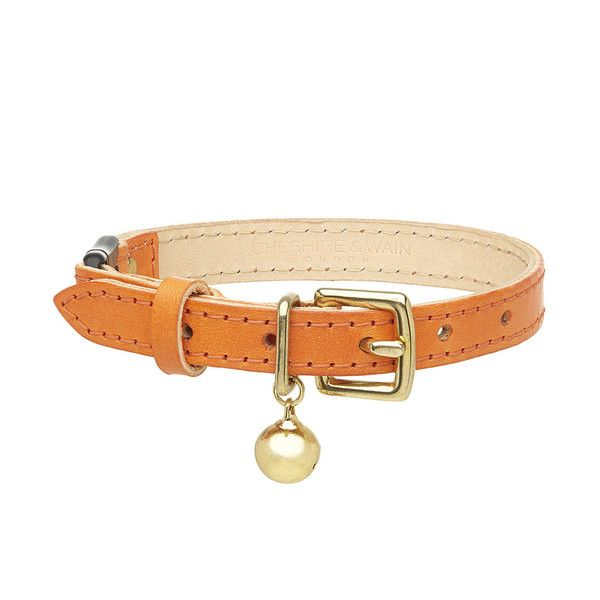 Vibrant orange leather cat collar by Cheshire & Wain  #cats #cat #catlovers #cute #collars #pets #style #fashion