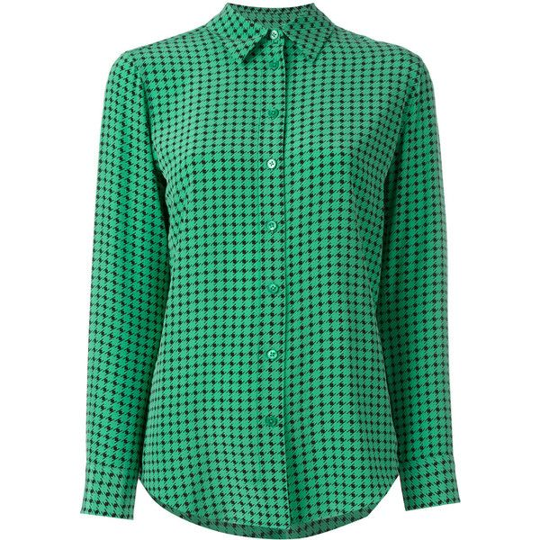 Equipment houndstooth print shirt ($465) ❤ liked on Polyvore featuring tops, green, equipment shirts, green shirt, houndstooth top, green top and houndstooth shirt