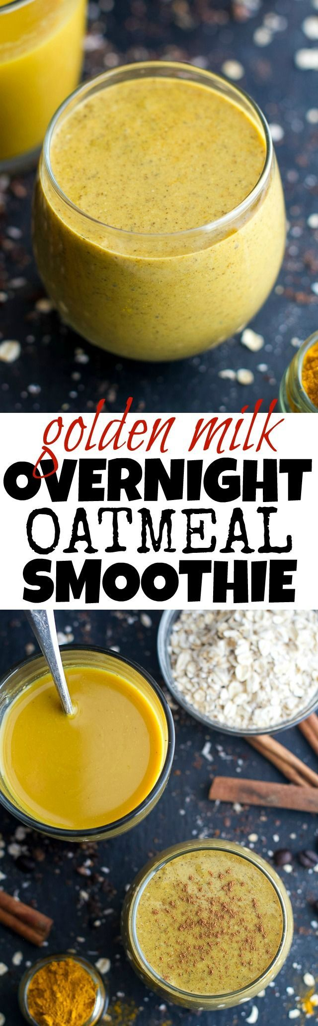 For the golden milk: 1 cup unsweetened almond milk 1 Tbsp  maple syrup ½ tsp vanilla extract ½ tsp turmeric ¼ tsp ground cinnamon ¼ tsp ground ginger pinch of black pepper For the smoothie: ¼ cup  rolled oats 1 Tbsp  chia seeds 1 cup  brewed golden milk (see above) 1 medium-size banana, frozen