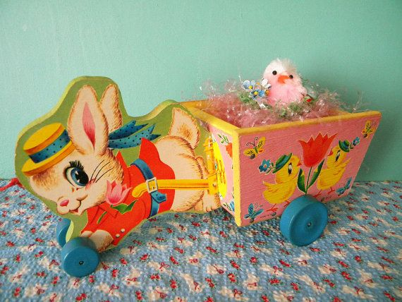 Vintage Easter Bunny Cart Fisher Price Running Rabbit #312 Anthropomorphic Bunny and Chicks