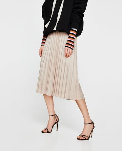 Image 2 of FAUX SUEDE PLEATED SKIRT from Zara