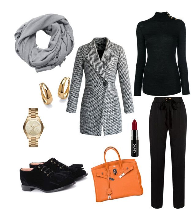 """""""elegance"""" by chantallb on Polyvore featuring Chicwish, Mother of Pearl, Balmain, Rochas, Hermès, MANGO, Michael Kors, NYX and Palm Beach Jewelry"""
