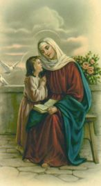 St. Anne- Patron Saint of Mothers.  I asked God for a real baby when I was five years old and cried when He didn't sent me one.  Now I have six.  God answers prayers in His own time!