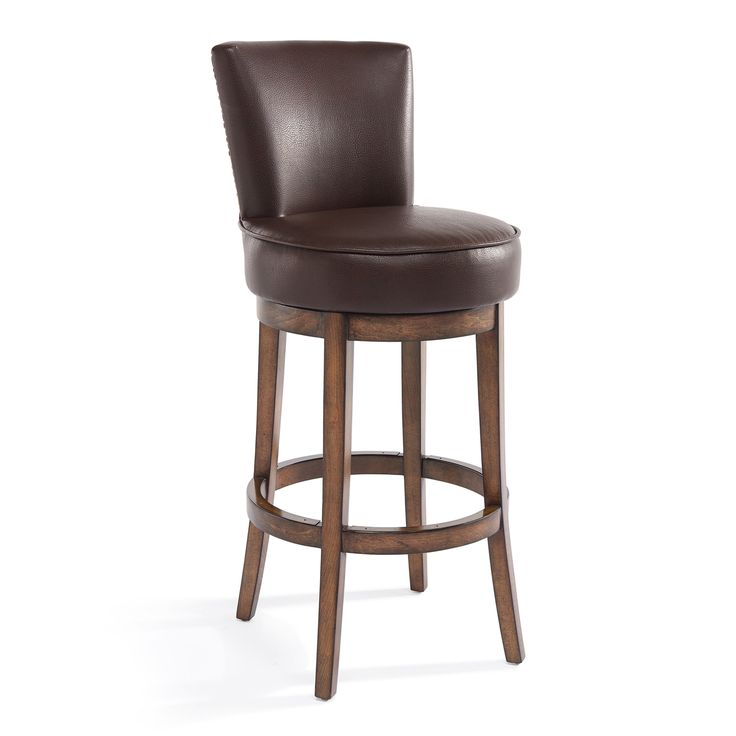 "Armen Living Boston 30"" Bar Height Swivel Wood Barstool in Chestnut Finish and Kahlua Pu. Armen Living Boston swivel wood barstool is incomparably chic in Chestnut finish and Kahlua Faux Leather upholstery. The smooth and soft feel of the Kahlua Faux Leather upholstery is sure to elevate the design element in your home. It is functional and can practically be used in any room in your home and blend in with any home decor. The backrest is designed to give you the right amount of back support…"