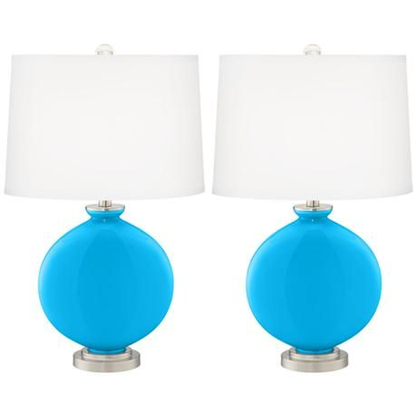 Sky Blue Carrie Table Lamp Set of 2