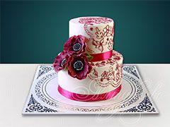 Свадебный торт малиновое кружево № 616