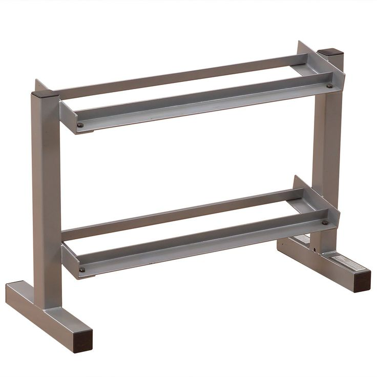 Powerline PDR282X 32-Inch 2-Tier Dumbbell Rack. Two-tier heavy-gauge steel dumbbell rack holds one pair each of five to 30-pound dumbbells. Four-side welded construction; deburred inside and out for user safety. Bench measures 22 by 14 by 32 inches (H x L x W) with 28-inch tray availability. Rack can be placed against a wall or stand freely. Dumbbells sold separately; 10-year warranty.