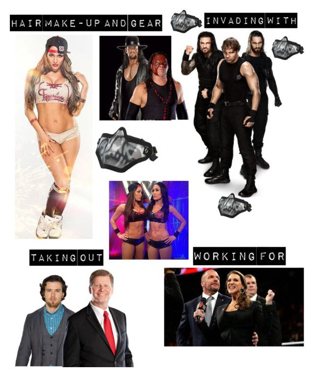"""""""Kaitlyn, The Bella Twins, The Shield, The Undertaker and Kane Taking out Brad Maddox and John Larinaitis for The Authority"""" by kaitlyngilmore ❤ liked on Polyvore featuring Kane"""