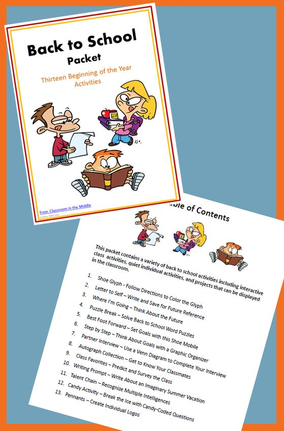 This Back to School Packet contains thirteen activities for the first days of school. They include interactive classroom activities, quiet individual activities, and projects that can be displayed in the classroom. $