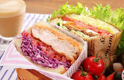 <2種類の具だくさんサンドウィッチ> たっぷりの野菜が入った満足感のあるチキンサンド&焼肉サンド! | ギャル曽根のダイエットレシピ | ネスレアミューズ