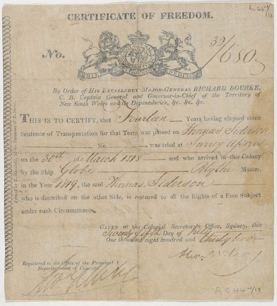 Thomas Siderson, Certificate of Freedom No. 32/680 signed by the Colonial Secretary, Alexander McLeay and registered in the Office of the Principal Superintendent of Convicts. On the reverse is a description of Siderson. Mitchell Library, State Library of New South Wales: http://www.acmssearch.sl.nsw.gov.au/search/itemDetailPaged.cgi?itemID=448973