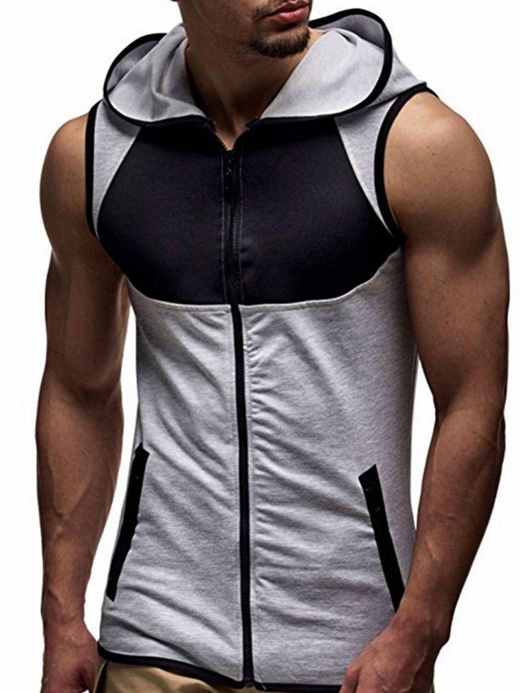 Αντίστροφη τσέπη Zip Up Hooded Vest - ΜΑΥΡΟ ΚΑΙ ΓΚΡΙ Λ