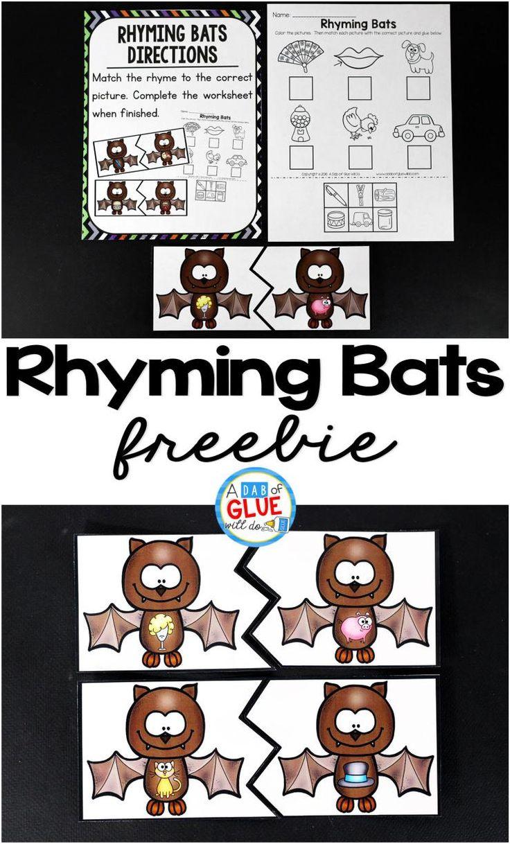 Rhyming Bats Literacy Center Kindergarten activities