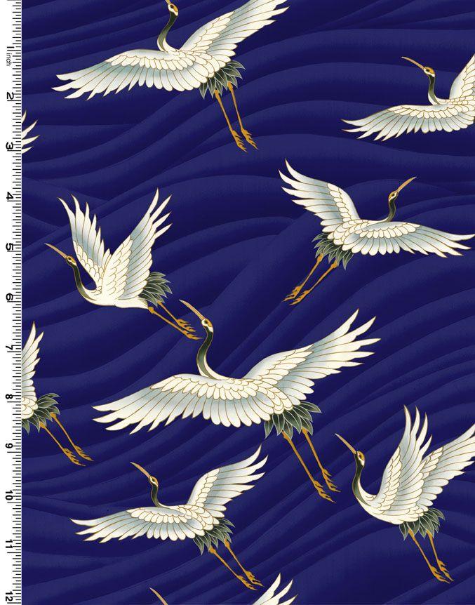 Kona Bay Fabric Tranquility Bird Crane Fabric indigo 1547