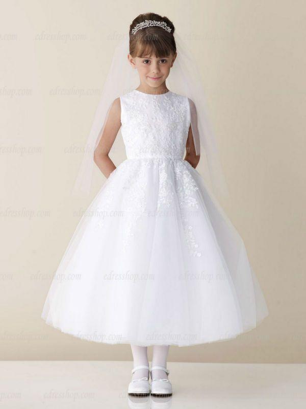 White Girl's first communion dress Tea length Ball Gown Catholic communion dress US $79.99 - 94.99
