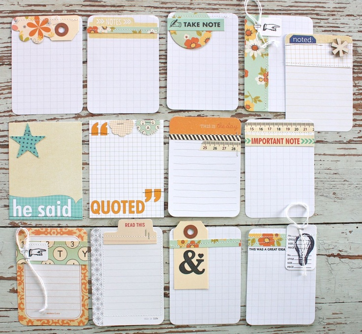 Love these handmade journalling cards - Mish Mash: Project Life Journaling Cards using October Afternoon....