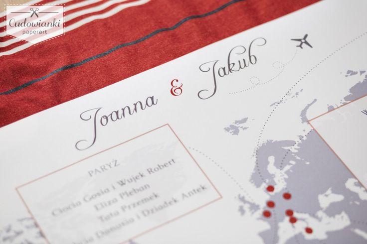Destination, Airline Style Ticket, Travel theme, Word map. Travel inspired wedding seating plan by Cudowianki / Plan stołów w formie mapy. Motyw wesela : podróż. Motyw podróży. #tableplan #wedding #weddingtableplane #seatingsplan #tableplanidea #weddingdecorations #weddinginspiration