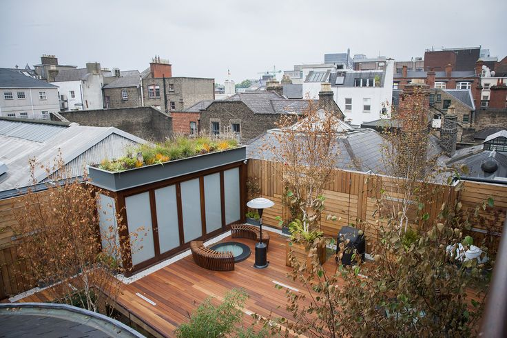 Green roof planted on top storage room