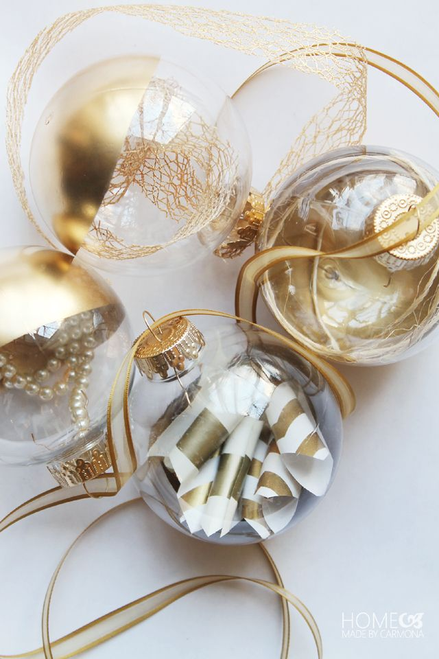 gold dipped ornament tutorial