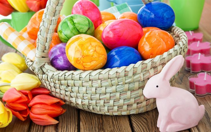 Download wallpapers Easter eggs, decoration, rabbit, 2018, multi-colored Easter eggs, tulips, spring, Easter