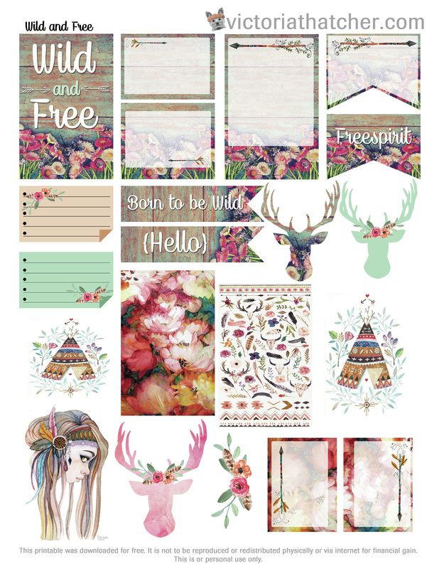 Free Printable Wild & Free Planner Stickers from Victoria Thatcher