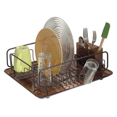 InterDesign Forma Lupe Kitchen Dish Drainer Rack with Tray