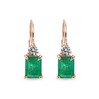 KLENOTA Fairy earrings adorned with green emerald and diamonds crafted in rose gold.