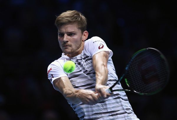 David Goffin Photos Photos - David Goffin of Belgium plays a backhand in his men's singles match against Novak Djokovic of Serbia on day five of the ATP World Tour Finals at O2 Arena on November 17, 2016 in London, England. - Day Five - Barclays ATP World Tour Finals