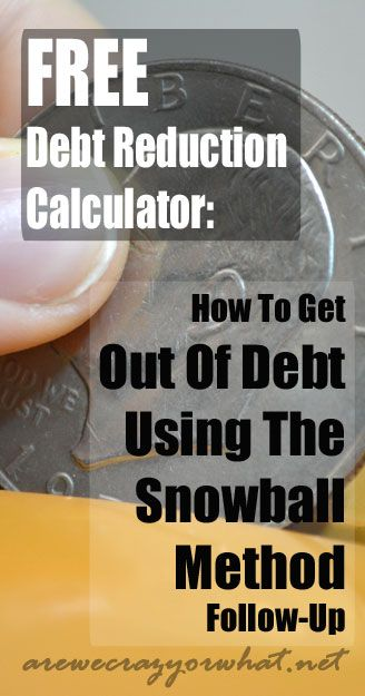FREE Debt Reduction Calculator: How To Get Out Of Debt Using The Snowball Method Follow-Up~AreWeCrazyOrWhat.net