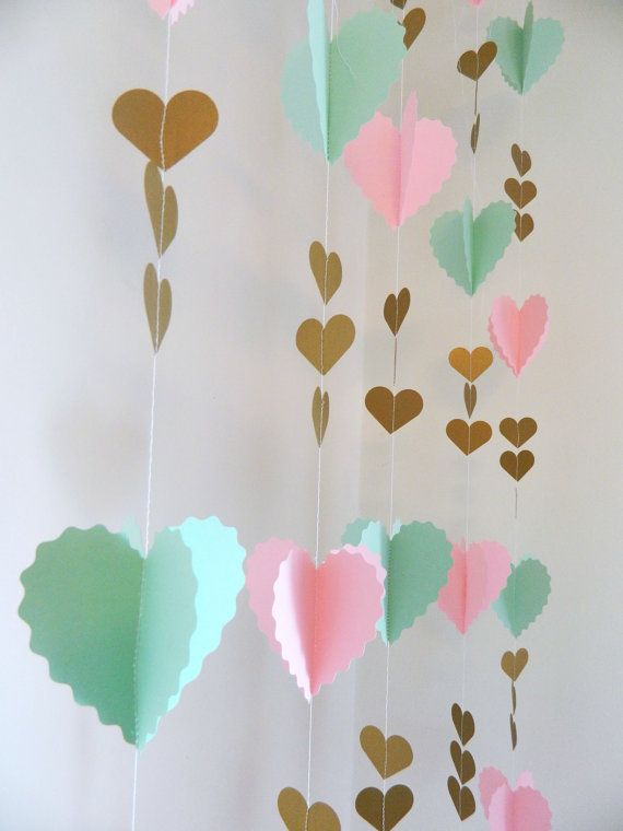 Mint Pink and Gold Birthday Party decor- Hearts Garland - Bridal Shower- Baby Shower - Paper Garland Backdrop- your color choices