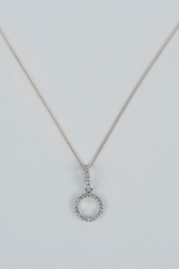 925 Sterling Silver Round Ring Pendant on Chain - Bridal Jewellery