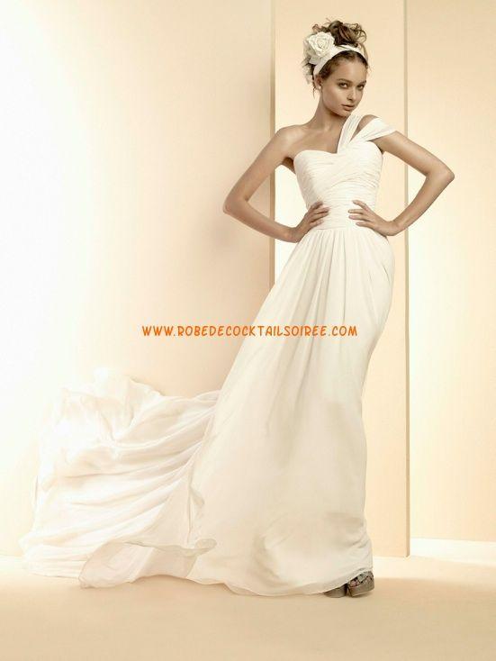 Belle robe de mariée évasé blanche 2013 simple bretelles mousseline