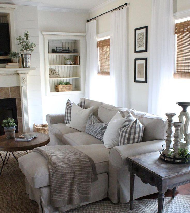 modern farmhouse living room — ikea ektorp sectional sofa
