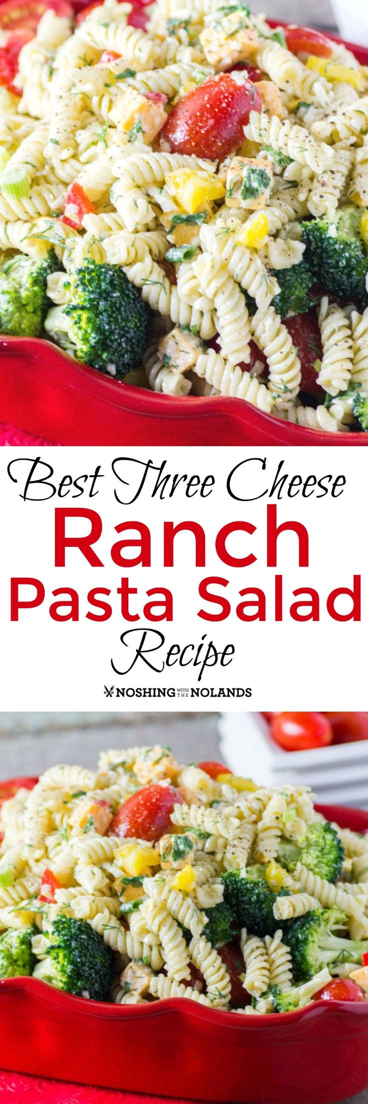 Best Three Cheese Ranch Pasta Salad Recipe by Noshing With The Nolands is the perfect addition to any meal no matter if it's summer or fall!