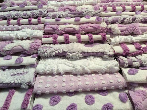 Chenille fabric quilt squares 42-6 blocks purple