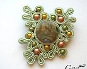 """Beautiful bezel—Soutache brooch """"Green Dream"""""""