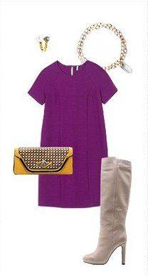 Фиолетовое пальто, оранжевая сумка, коричневые ботильоны