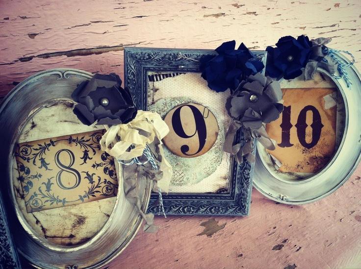 Table numbers Set of 10 Rustic Navy Blue.