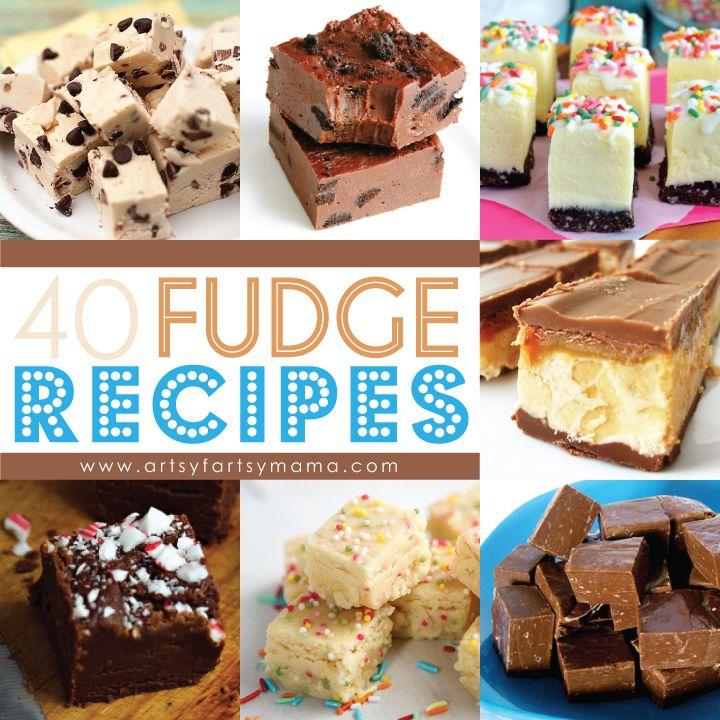 40 Fudge Recipes at artsyfartsymama.com #fudge #recipe