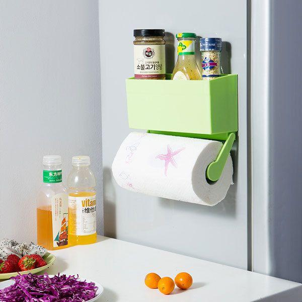 Kitchen Oven Fridge Magnetic Storage Rack Shelf Paper Towels Cling Film Holder #Unbranded