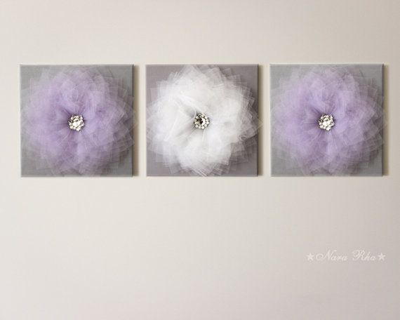 THREE Flower Wall Art Lavender and Gray Flower Decor Home Styling Light Purple and Grey Decor Shabby Chic Style Nursery Room Decor Set