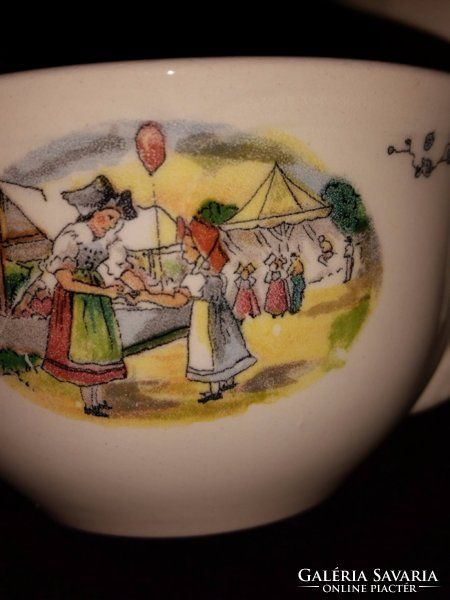 Sarreguemines Obernai fajansz teáscsészék ( 4 db )
