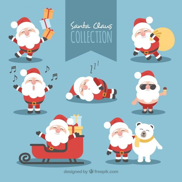 Nice santa claus in different poses Free Vector