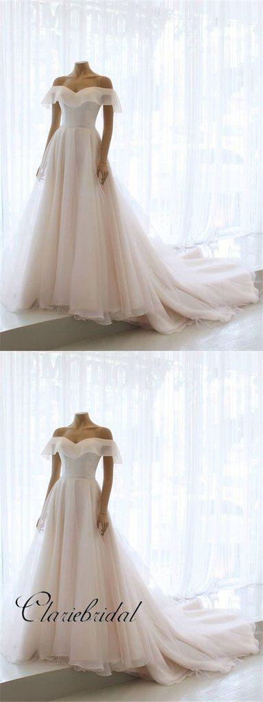 Off Shoulder Simple Chiffon Wedding Dresses, Long Bridal Gown, Wedding – ClaireBridal #weddingdresses #laceweddingdresses #weddings #bridalgown