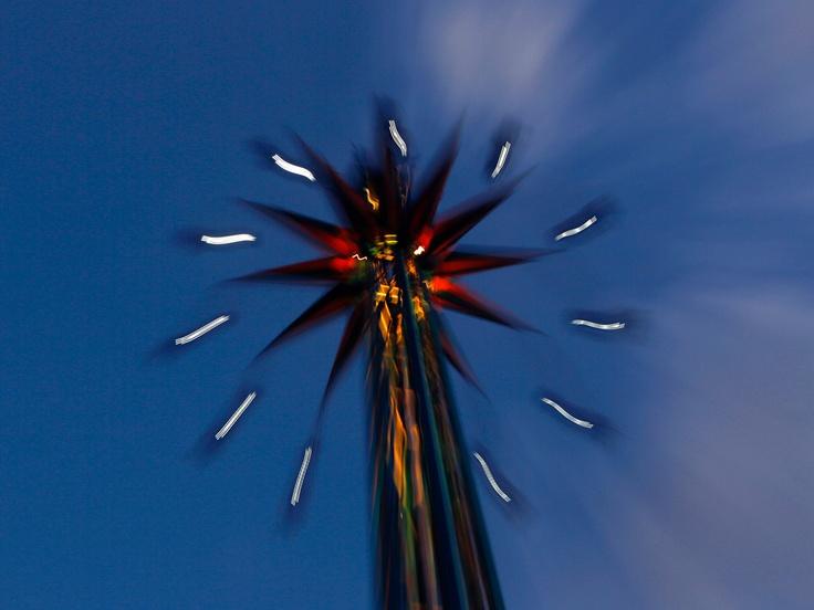 Athens: Visitors to the Luna Park enjoy an amusement ride